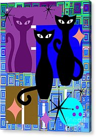 Mid Century Modern Abstract Mcm Bowling Alley Cats 20190113 V2m1 Acrylic Print