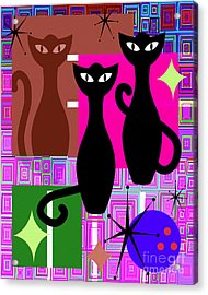 Mid Century Modern Abstract Mcm Bowling Alley Cats 20190113 V2m103 Acrylic Print