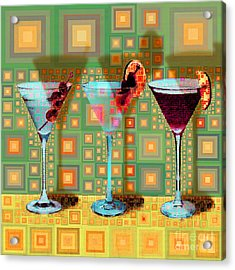 Mid Century Modern Abstract Mcm Three Martinis Shaken Not Stirred 20190127 V1 Square Acrylic Print
