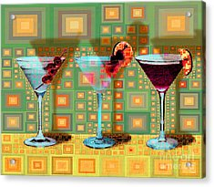 Mid Century Modern Abstract Mcm Three Martinis Shaken Not Stirred 20190127 V1a Acrylic Print