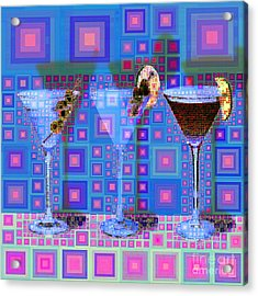 Mid Century Modern Abstract Mcm Three Martinis Shaken Not Stirred 20190127 V2 Square Acrylic Print