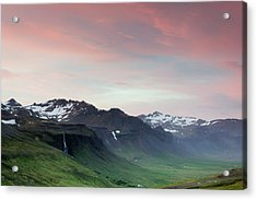 Midnight Sun In Iceland Acrylic Print