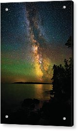 Acrylic Print featuring the photograph Milky Way And Northern Lights Over Isle Royale by Owen Weber