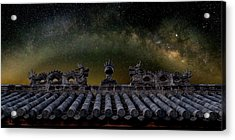 Milky Way Arch Over Chinese Temple Roof Acrylic Print