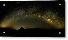 Milky Way Arch Panorama Over Tianping Mountain And Ridge-line Acrylic Print