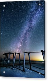 Milky Way Over Gulf Pier Acrylic Print