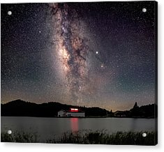 Milky Way Over The Tianping Mountain Lake Temple Acrylic Print