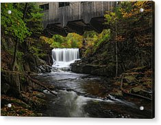Acrylic Print featuring the photograph Mill Brook Falls And Bissell Covered Bridge by Juergen Roth