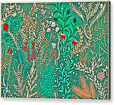 Millefleurs Home Decor Design In Brilliant Green And Light Oranges With Leaves And Flowers Acrylic Print