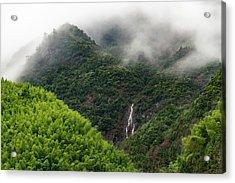 Misty Mountain Waterfall Acrylic Print
