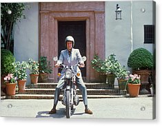 Mitchell On Motorcycle Acrylic Print by Slim Aarons