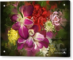 Mixed Flower Bouquet,digital Acrylic Print