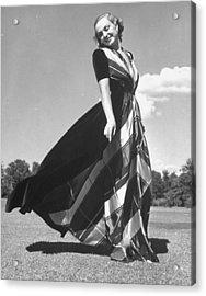 Model Clad In Elegant Velvet Housecoat W Acrylic Print