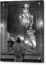 Model In Ostrich Feather-trimmed Gown Pa Acrylic Print by Alfred Eisenstaedt