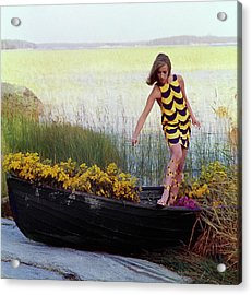 Model In Rowboat Filled With Yellow Flowers Acrylic Print by Gordon Parks