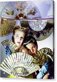 Models In Max Factor With Fans Acrylic Print