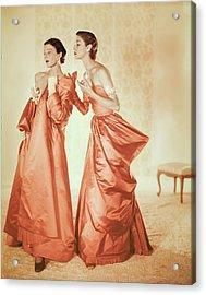 Models In Orange Silk Gowns Acrylic Print