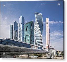 Modern Skyscrapers In Moscow Acrylic Print by Yongyuan Dai