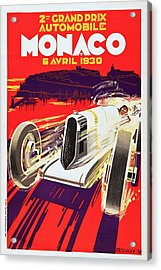 Monaco Grand Prix 1930, Vintage Racing Poster Acrylic Print