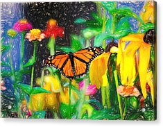 Monarch Butterfly Colored Pencil Acrylic Print