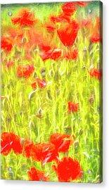 Monet Style Poppy Meadow Acrylic Print
