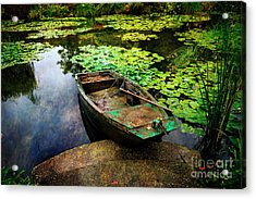 Monet's Gardeners Boat Acrylic Print