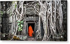 Monk In Angkor Wat Cambodia. Ta Prohm Acrylic Print by Banana Republic Images
