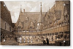 Monks At The Hotel Dieu Acrylic Print by Hulton Archive