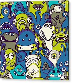 Monsters And Aliens- Seamless Background Acrylic Print