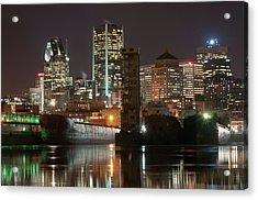 Montréal Port Et Centre Ville De Nuit Acrylic Print by Philippe Dufag Photography
