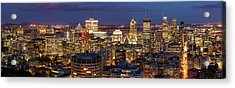 Acrylic Print featuring the photograph Montreal Panorama At Night by Pierre Leclerc Photography