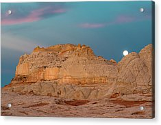Moon And Clouds At Sunrise, Vermillion Acrylic Print