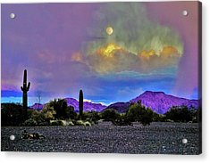 Moon At Sunset In The Desert Acrylic Print