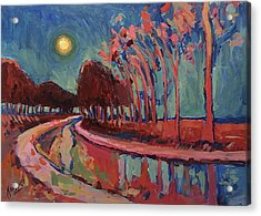 Moon Night At The Canal Acrylic Print