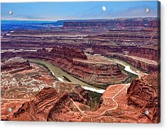 Acrylic Print featuring the photograph Moon Over Deadhorse Point by Andy Crawford