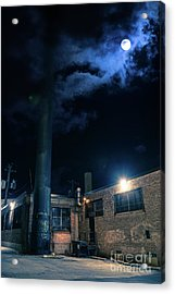 Moon Over Industrial Chicago Alley Acrylic Print