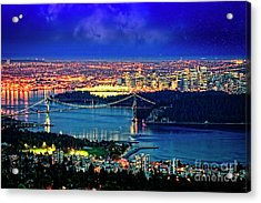 Acrylic Print featuring the photograph Moon Over Vancouver by Scott Kemper