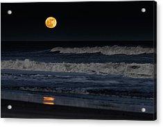 Moonrise Over Assateague Island Beach Acrylic Print