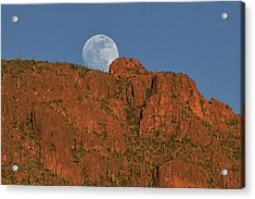 Moonrise Over The Tucson Mountains Acrylic Print