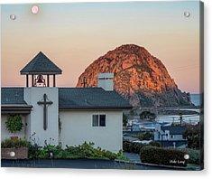Moonset Above Morro Rock Acrylic Print
