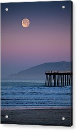 Moonset At Pismo Beach Acrylic Print by Mimi Ditchie Photography