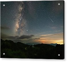 Moonset Milky Way And Shooting Star Acrylic Print
