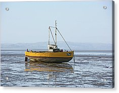 Morecambe. Yellow Fishing Boat. Acrylic Print