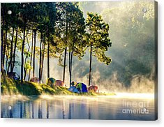 Morning In Forest With Camping In The Acrylic Print
