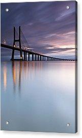 Morning Mirror- Vasco Da Gama Bridge Acrylic Print