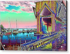 Morning Pink Marquette Ore Dock Acrylic Print