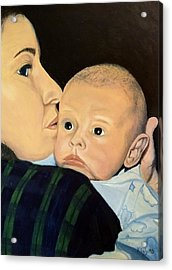 Acrylic Print featuring the painting Mother And Son by Kevin Daly
