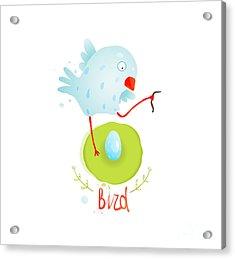 Mother Bird In Nest Feeding Egg Acrylic Print