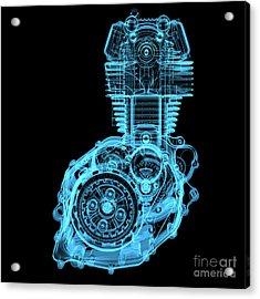 Motocycle Engine 3d X-ray Blue Acrylic Print