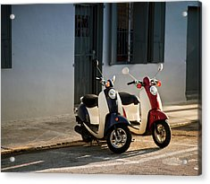 Motorbikes Parked On The Road Acrylic Print by Pgiam